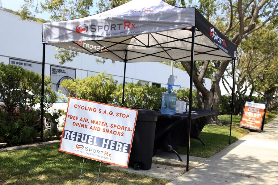 Cyclists, stop and refuel at the S.A.G. Stop in front of the SportRx Sunglasses Shop, located at 5076 Santa Fe. Street
