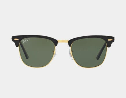 ray ban clubmasters with prescription featuring the ray ban rb3016 clubmaster sunglasses in black with gold metal accents and g-15 green polarized lenses