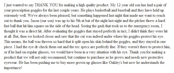 Rec Specs Testimonial, Prescription Sports Goggles