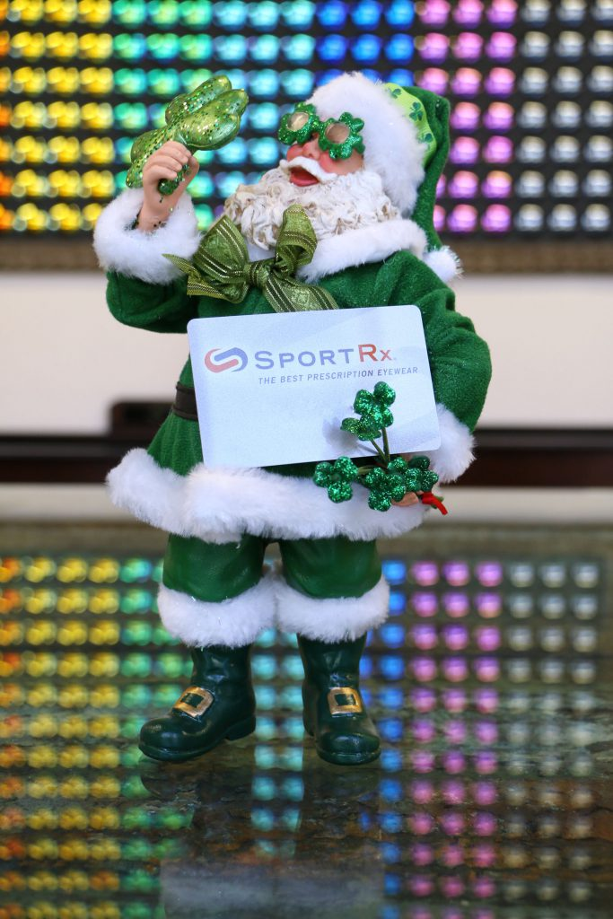 Holiday Gift Guide 2014 for women men and kids, SportRx Gift Card, St. Patrick's Day Santa Clause, Green Santa, SportRx Gift Card