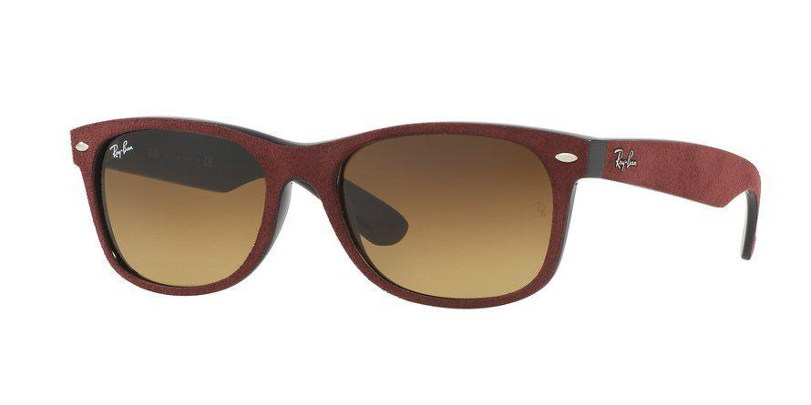 Ray-Ban New Wayfarer 55 Eyesize in Alcantara-Bordeux with Black-Brown Gradient Lenses