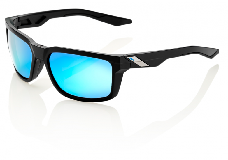 100% Daze in Matte Black with Hiper Iceberg Blue Mirror