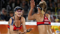 Kerri Walsh Jennings and April Ross Dominate the Competition Wearing Oakley Green Fade PRIZM Stadium Sunglasses