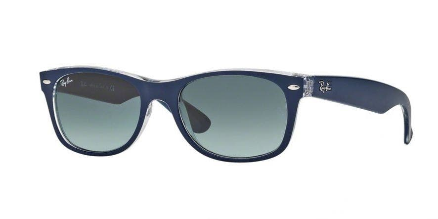 Ray-Ban New Wayfarer with Top Matte Blue on Transparent Frames & Grey Gradient