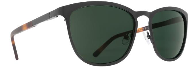 80a2d2a80c Spy Cliffside in Matte Black Matte Honey Tortoise with Happy Grey Green  Polarized Lenses
