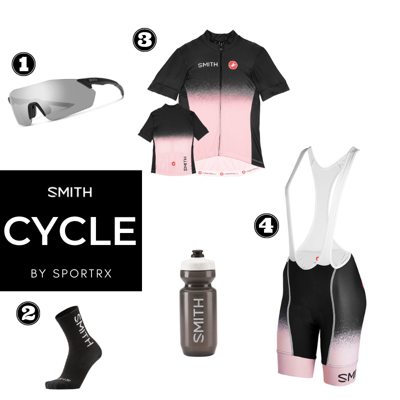 ladies cycling pants, jerseys and sunglasses