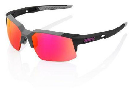 100% Speedcoupe in Soft Tact Graphite with Purple Multilayer Mirror Lens