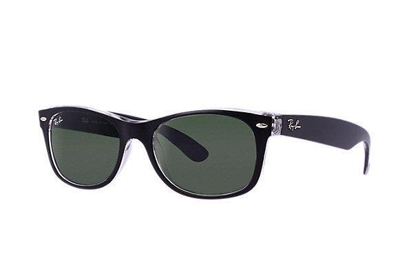 Ray-Ban RB2132 New Wayfarer with Top Black on Transparent Frames & Green Lenses